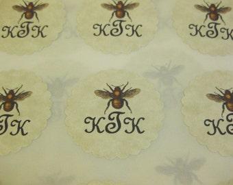 Vintage Bee Stickers Eco- Friendly Envelope Seals Custom Initials Set of 24
