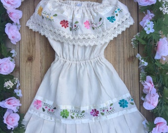 Mexican embroidered child dress size 4T boho peasant off the shoulder cowgirl style mexican birthday dress