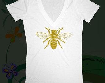 Bee 01 -  graphic  printed on Deep V Neck Ladies Slim Junior Fit Tee Shirt