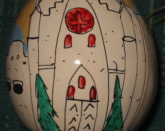 Loretto Chapel, Santa Fe, New Mexico  Hand-Painted Gourd Christmas Ornament/decoration by Artist Sandy Short   handpaintedgourds.com