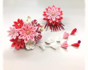 Thumb filigree flower pins, small pink 花合wase.