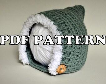 PDF PATTERN - Autumn Woodland Pixie Elf Crochet Hat