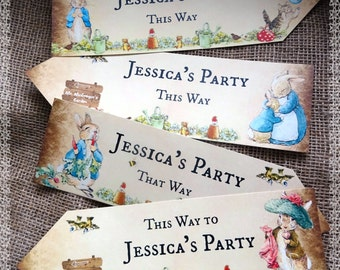 Set of 4 Personalised Beatrix Potter Peter Rabbit Large Party Decoration Arrows