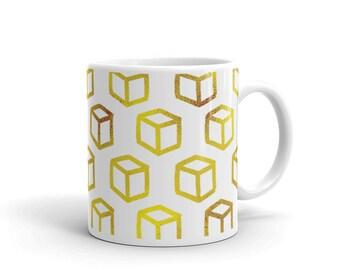 Gold Square Pattern Mug, Gold Mug, Square Pattern, Gold Square Mug, Feminine Mug, Tea Mug