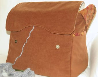 "Brown Corduroy, Knitting Bag, Yarn Dispenser, crochet supplies, knitting tote, women's handbag, yarn storage, 12"" x 11"" x 7"", large"