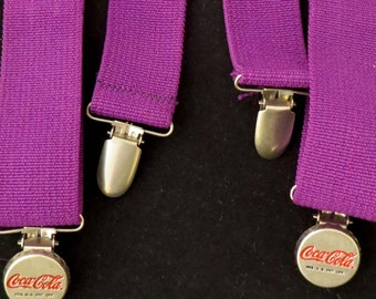 """Sale! Rare Purple COCA COLA SUSPENDERS w """"Bottle Cap"""" Clasps & Elastic Straps from the 1980's / Awesome Christmas or Birthday Gift!"""