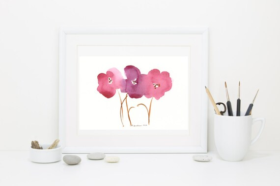 "Watercolor art print: ""Autumn Palette Poppies"""