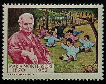 Maria Montessori 1870-1952 -Handmade Framed Postage Stamp Art 10420AM
