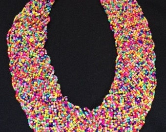 African bead necklace with earrings; Micro beads; Bead Necklace; Seed bead necklace; Beadwork Necklace; Seed Bead Jewelry; African Jewelry