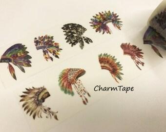 Tribal Feathers Headdress Big Washi Tape 30mm x 5 meters WT923