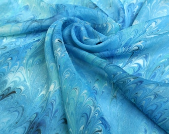 Blue marbled silk scarf Hand dyed Sea Blue scarf Square scarf gift wife Gift for mom Gift for sister Marbled silk scarves Mom gift blue