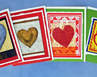 Four Fanciful Valentines Blank Note Card Set, True Blue, Heart of Gold, Happy Heart and Flaming Heart.