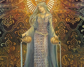 The Star Goddess of Hope Mythological Tarot Art 5x7 Card Pagan Mythology Psychedelic Bohemian Gypsy Goddess Art
