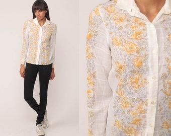 Floral Blouse 70s Boho Top SHEER Shirt Button Up Shirt Bohemian White Cotton Long Sleeve 1970s Vintage Boho Hippie Romantic Extra Small xs