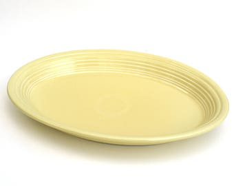"""Vintage Fiesta Yellow Oval Serving Platter (Newer), 13.5"""" Long x 9.5"""" Wide, Date Stamped 1998, Homer Laughlin China Co Yellow Fiestaware"""
