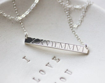 Roman Numeral Necklace Skinny Bar - Wedding Date Necklace - Silver Bar Necklace - Anniversary Gift