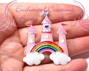 "2"" Pink Rainbow Castle Charm, Rhinestone Chunky Pendant, Keychain, Bookmark, Zipper Pull, Chunky Jewelry, Purse Charm"