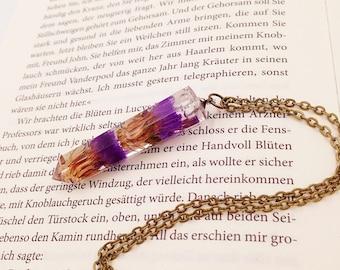 Beach lilac violet blossoms pendant unique, expressive resin jewelery silver