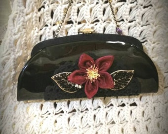 After Life Accessories: Repurposed vintage black Lucy Clutch
