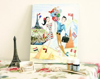 Custom Couple Portrait - Where You Have Been with Flags - Mixed-Media Original Illustration
