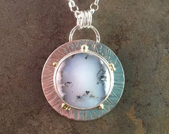25% Off Dendrite Opal Cabochon 14kt Gold Sterling Silver Hammered Metalwork Necklace Pendant