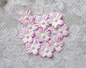 DIY, Mulberry Flowers, Pink Tip with Pearl, Scrapbooking, Mixed Media,  Card Making, Shabby Chic