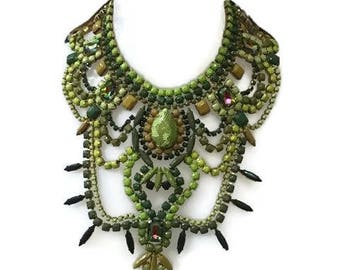 KALE AND SAGE hand painted rhinestone super statement necklace