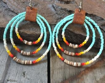 Beaded Hoop Earrings   Rainbow Colors   Leather Heishi Jewelry