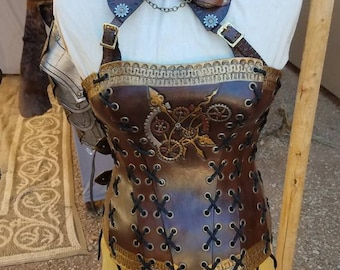 Steampunk leather corset and choker