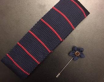 Mens tie. Lapel Pin. Necktie and Lapel Pin Set. Skinny Tie. Knit tie