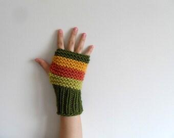 Harvest Gloves, Earth Tones Fingerless Gloves, Harvest Colors, Women Gloves, Winter Fashion, Mustard,Green,Orange, Pistachio