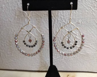 Bead and wire large earrings