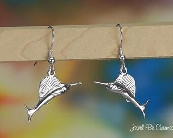 Sterling Silver Sailfish or Swordfish Earrings Fishhook Solid .925