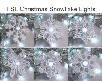 FSL Christmas Snowflake Lights- Free Standing Lace Machine Embroidery Designs Instant Download 3x3 hoop 10 designs SHE5129