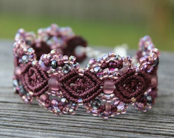Micro-Macrame Cuff Bracelet. Modern Macrame. Beaded Cuff. Purple Cuff Bracelet. Macrame Cuff. Statement Jewelry. Boutique Fashion Piece.