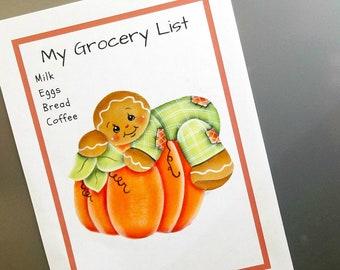 Gingerbread with Pumpkin Shelf Sitter, Fall Gingerbread Decor, Gingerbread Fridge Magnet, Wood Shelf Decor, Pumpkin Decor, Gift for her