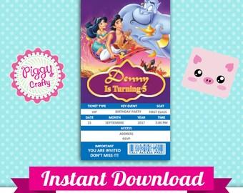 Aladdin 01 Ticket Invitation Editable Text PowerPoint English and Spanish