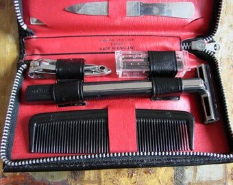 Vintage English Leather Razor Set -- Gillette Razor with Disposable Blades, Clippers, File, Comb & Mirror for Him