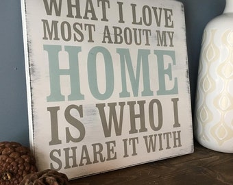 What I love most about my home is who I share it with wooden sign