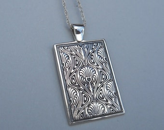 Sterling Silver Art Nouveau Pendant Bohemian Necklace  Modern Art Nouveau Jewelry Made in Montana Fine Jewelry Anniversary Gift for Women