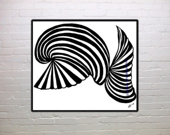 Black and white print, abstract, fantasy, whale, fan, wall art, home, office decor, nursery decor, child's room, daycare decor