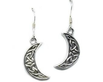 Moon Earrings~Silver Celtic Moon Earrings~Crescent Moon Earrings~Knotted Moon Earrings~Half Moon Jewelry~Boho Moon Earrings~Gift for Her