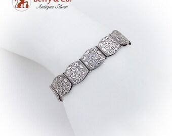 Vintage Floral Engraved Link Bracelet Continental 835 Silver