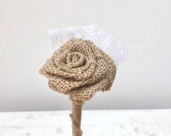 Hessian/Burlap Flower with Lace Wand | Flower girl | Bridesmaid | Wedding