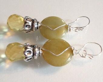 Jade and Crystal Earrings Handmade