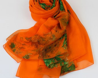 Orange Silk Scarf with Floral Print - Orange Mulberry Silk Chiffon Scarf -Floral print silk scarf- Floral silk scarf-AS2218J