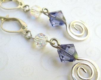 Tanzanite Dangle Earrings, Swarovski Elements Purple Crystal and Silver Spiral Earrings, Silver Swirl Earrings, Crystal Fashion Jewelry
