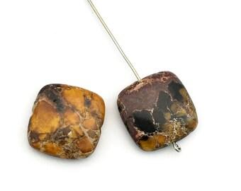 2 yellow impression jasper puffed stone beads  / 20mm #PP355