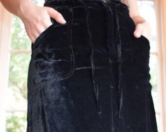 Drawstring Velvet Skirt