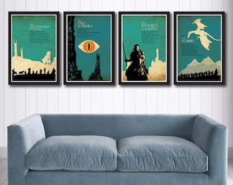 The Lord of the Rings Trilogy poster set and The Hobbit